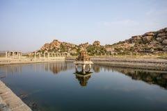 Pond near the Vittala Temple in the archeological site Hampi, Karnataka, India Stock Photo