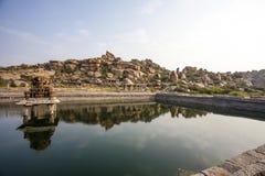 Pond near the Vittala Temple in the archeological site Hampi, Karnataka, India Stock Photography