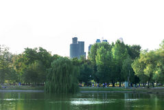 Pond in Novodevichy Park and Tower City. Photo of the pond in the Novodevichy Park and Tower City moscow Royalty Free Stock Images