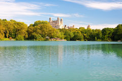 Pond in the NY central park in summer Stock Images