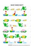 Pond o jogo educacional temático da lógica da vida - reconhecimento de padrões sequencial ilustração do vetor