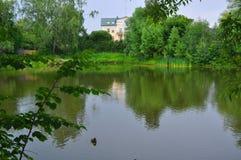 Pond in Ostafievo village in Podolsk district, Moscow region, Russia Stock Images