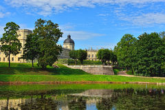 The pond and palace in Gatchina garden. Stock Photography