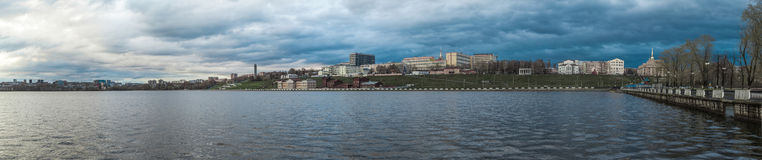 Pond panorama on the embankment in the city Royalty Free Stock Photo