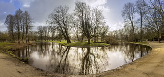 Pond panoramic landscape photo in Vondelpark, Amsterdam. Stock Image