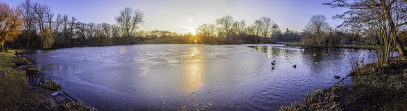 Pond panoramic landscape photo in Vondelpark, Amsterdam.  Royalty Free Stock Photos