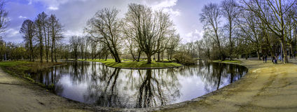 Pond panoramic landscape photo in Vondelpark, Amsterdam.  Royalty Free Stock Photo