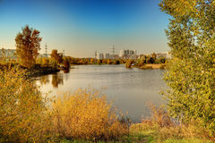 Pond in park at autumn Stock Photography