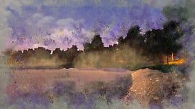 Pond in a park at misty dusk watercolor sketch vector illustration