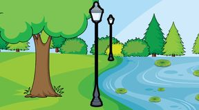 Pond in park scene. Illustration royalty free illustration