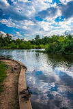 The pond at Patterson Park in Baltimore, Maryland. Stock Photography