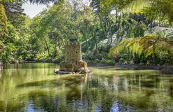 Pond in the Pena park in Sintra. Portugal stock photos