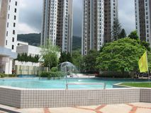 Pond in a plaza in the centre of Tsuen Wan, Hong Kong royalty free stock photos