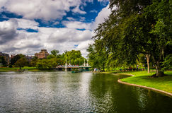 Pond in the Public Garden in Boston, Massachusetts. Royalty Free Stock Images