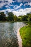 Pond at the Public Garden in Boston, Massachusetts. Stock Photos