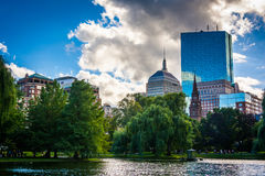 Pond in the Public Garden and buildings in Boston, Massachusetts Stock Images