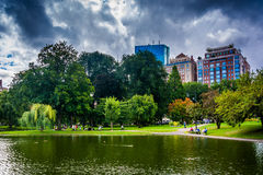 Pond in the Public Garden and buildings in Boston, Massachusetts Royalty Free Stock Photography