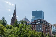 Pond in the Public Garden and buildings in Boston royalty free stock image