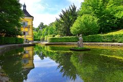 Pond in Public Gardens of Hellbrunn Palace Schloss Hellbrunn in Salzburg. Salzburg, Austria - May 25, 2019 : sculptures at the pond in Public Gardens of stock image