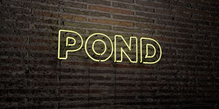 POND -Realistic Neon Sign on Brick Wall background - 3D rendered royalty free stock image. Can be used for online banner ads and direct mailers Royalty Free Stock Images