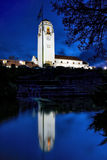 Pond reflection of the Boise Train depot at night Royalty Free Stock Photography