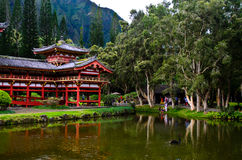 Pond reflection of Byodo-in temple Stock Image