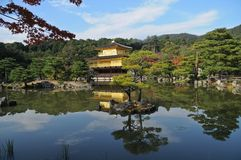 Pond reflection and Japanese golden pavillion Kinkakuji in Autum. N Kyoto district in Japan during fine summer day with blue sky Royalty Free Stock Photography