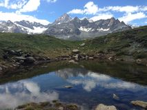 Pond Reflection  nature at Zermatt, switzerland Royalty Free Stock Photo