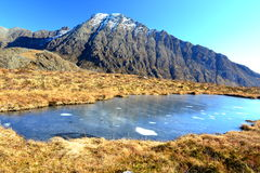 Pond in rocky mountains of Scotland. Frozen pond in Cuillin Hills on the way to Loch Coruisk, Isle of Skye Stock Photography