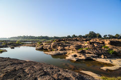 Pond in Sampanbok ,in Mekong River Royalty Free Stock Photos