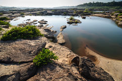 Pond in Sampanbok ,in Mekong River Stock Photo