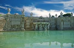 Pond with sculptures near the Belvedere Stock Photos