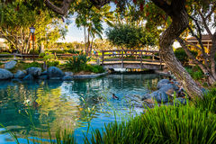 Pond at the Seaport Village, in San Diego, California. Royalty Free Stock Image