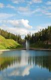 Pond of ski resort Ruka in summer. Stock Photography