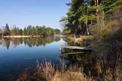 Pond in spring countryside Stock Images