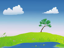 Pond in the springtime royalty free illustration