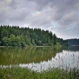 Pond and storm clouds. Lake with grass and deep forest royalty free stock photos