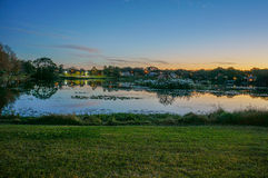 A pond and sunset Stock Image