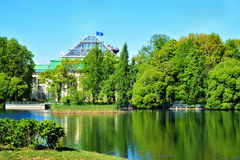 Pond in the Tauride Garden. The pond in the Tauride garden, with views of the Tauride Palace and Museum of history of parliamentarism in Russia and the CIS Royalty Free Stock Photo