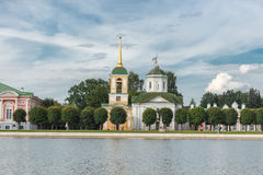 Pond and temple of the all-merciful Saviour. In the Park Kuskovo, Moscow royalty free stock image