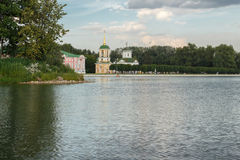 Pond and temple of the all-merciful Saviour. In the Park Kuskovo, Moscow stock image