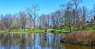 Pond in th park of the Castle in Cesis, Latvia, Europe Stock Photography