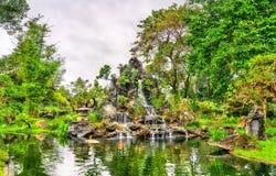 Pond at Thien Mu Pagoda in Hue, Vietnam. Waterfall at the Pagoda of the Celestial Lady in Hue, Vietnam royalty free stock photos