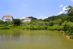 Pond of tianzhu resorts hotel Royalty Free Stock Image