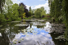 Pond, trees, and waterlilies in a french garden Royalty Free Stock Image