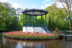 Pond and tulips in Vondelpark Royalty Free Stock Images