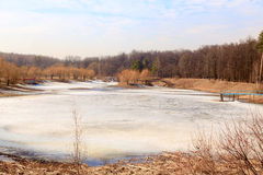 The pond under ice Stock Images