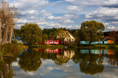Pond in village Stock Photography
