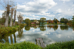 Pond in village Royalty Free Stock Image