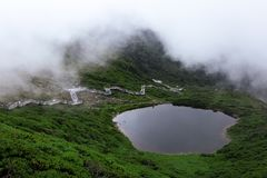 Pond and Walking Path in Mountain stock photography